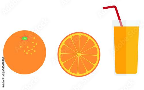 Fényképezés glass of orange juice and oranges.  Vector illustration