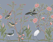 Vintage Garden Tree, Rose Flower, Birds, Crane Floral Seamless Border Blue Background. Exotic Chinoiserie Wallpaper.