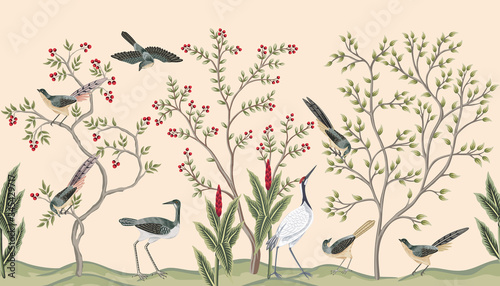 Fototapeta Vintage garden tree, plant birds, crane seamless border pink background. Exotic chinoiserie floral wallpaper.   obraz