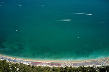 Aerial View Of Beach With Colorful Umbrellas. Mediterranean Sea, Italy.