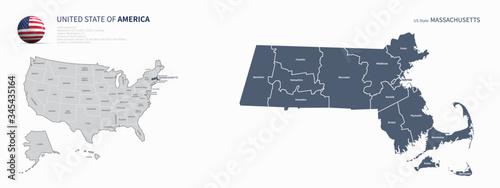 Fototapeta massachusetts map