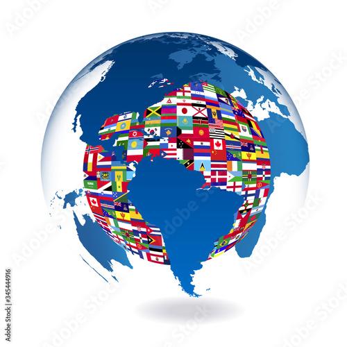 Obraz na plátně 地球 世界 地図 アイコン