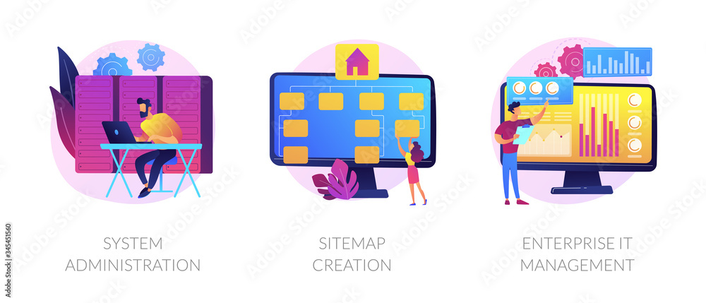 Fototapeta Server maintenance, web design development, business organization icons set. System administration, sitemap creation, enterprise it management metaphors. Vector isolated concept metaphor illustrations