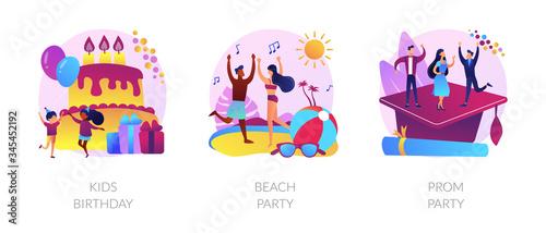 Fototapeta Children anniversary celebration, summer season discotheque, school graduation ball icons set. Kids birthday, beach party, prom party metaphors. Vector isolated concept metaphor illustrations obraz