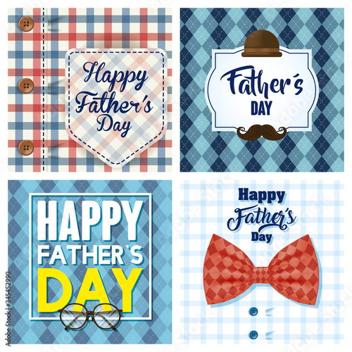 happy fathers day card with male shirts and accessories Tableau sur Toile