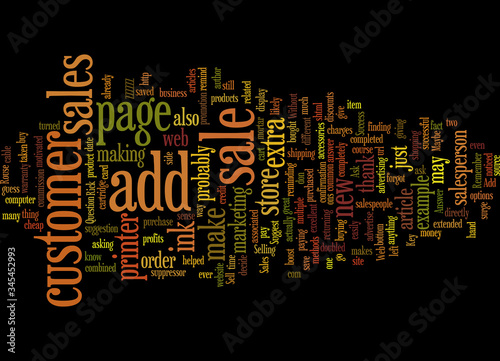Photo Word Cloud Summary of Add on Sales The Key To Success On The Web Article