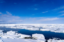 オホーツク海沿岸に押し寄せる流氷群