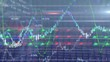 Animation of stock market display with green and blue stock market numbers and graphs in background