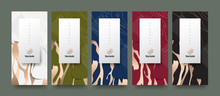 Vector Set Packaging Templates Japanese Of Nature Luxury Or Premium Products.logo Design With Trendy Linear Style.voucher, Flyer, Brochure,wallpaper.Menu Book Cover Japan Style Vector Illustration.