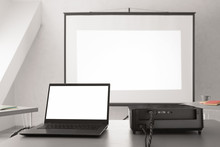 Video Projector With Laptop On...