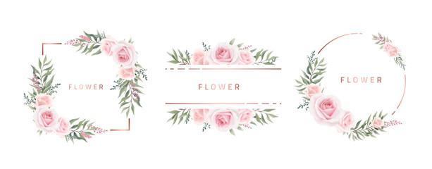 Akvarel cvjetni okvir Ruža Eukaliptus. Predložak pozivnice za vjenčanje. Ružičasti metalni okvir.