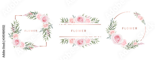 Watercolor flower frame Rose Eucalyptus. Template wedding invitation card. Rose metallic frame.