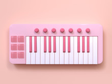 Abstract Pink Mini Piano Keyboard Cartoon Style 3d Rendering