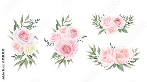 Fototapeta Rose Flower Collection Eucalyptus leaves. Watercolor flower bouquet set For wedding Wedding card. obraz