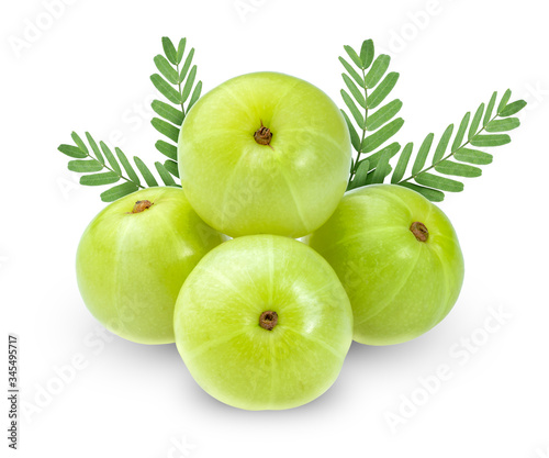 Fotografija Fresh Indian gooseberries on white background, Phyllanthus Emblica isolated on white background with clipping path