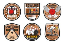 Bowling Alley, Skittle Ground Center Vector Icons. Ninepin Bowling Strike Game Tournament, Sport Recreation Tournament And Family Entertainment Center Lane Rentals, Pins And Ball With Wings
