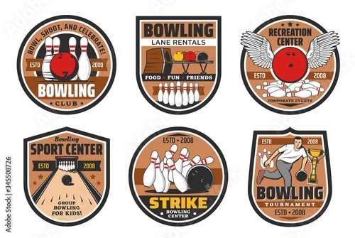Slika na platnu Bowling alley, skittle ground center vector icons