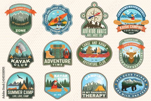 Valokuvatapetti Set of summer camp, canoe and kayak club badges