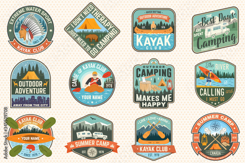 Set of summer camp, canoe and kayak club badges Canvas-taulu