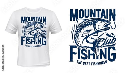 Salmon or trout fish print t-shirt mockup, fishing sport club Fototapeta