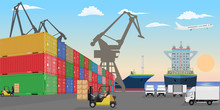 Stacked Freight Containers At A Sea Port Dock. High Detailed Cargo Ships Cars And Forklift Cars. Flat Vector Illustration.