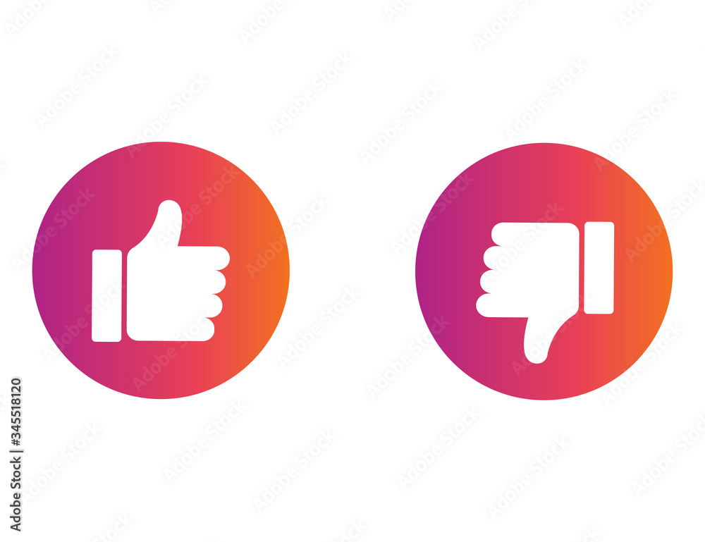 Fototapeta Thumb up and down in colorful gradient design. Ok and negative symbol. Positive or bad choice. Isolated illustration of like or dislike icon. Social button of decision. Insta style. Vector EPS 10.