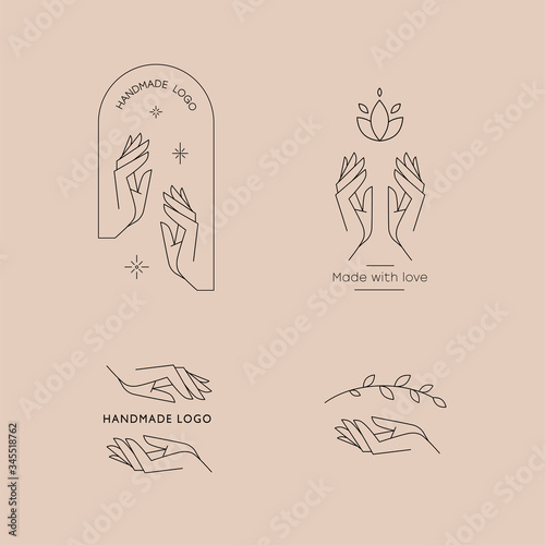 Fototapety, obrazy: Set of logos for business in the industry of beauty, health, personal hygiene. Beautiful picture of hands. Logo of a beauty salon, health industry, makeup artist, cosmetologist, massage therapist.