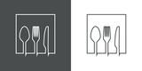 Símbolo restaurante. Icono plano lineal silueta tenedor, cuchillo y cuchara en cuadrado en fondo gris y fondo blanco
