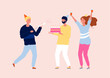 Happy friends celebrating party. Birthday cake, wine and confetti. Friendship, smiling woman and men vector characters. Celebration group happiness characters friendship illustration