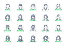 People Avatar Line Icons. Vect...