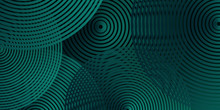 Abstract Spiral 3d Luxury Dark Green Overlap Layer With Golden Green Line. Abstract Bright Green Banner Design. Abstract Deep Green 3D Background With Spiral Pattern