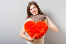 Love And Valentines Day Woman Holding Heart