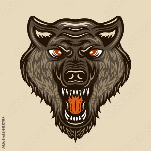 Photo Wolf head vector colored vintage illustration