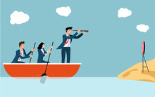 Business Leadership Concept Vector, Leader Sailing Boat With A Telescope Helps Team To Reach The Goal.