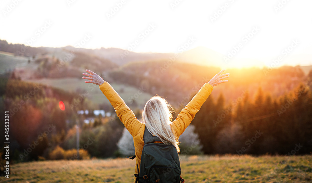 Fototapeta Rear view of senior woman hiker standing outdoors in nature at sunset.