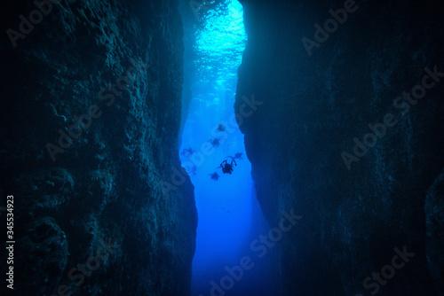 Person Scuba Diving At Deep Sea Poster Mural XXL
