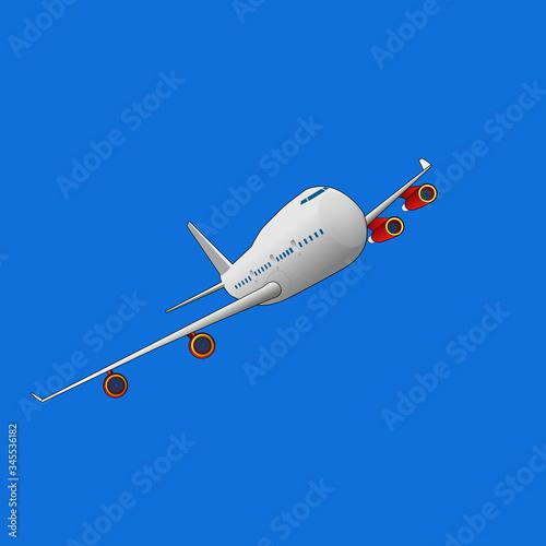 Obraz Airbus airplane isolated illustration taking off  - fototapety do salonu