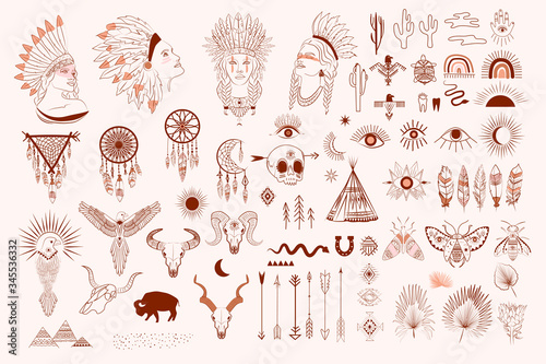 Canvas Print Collection of boho and tribal elements, woman face portrait, dreamcatcher, birds, animals skull, esoteric elements, insect and plants