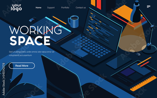 Landing page template of Working Space Fototapeta