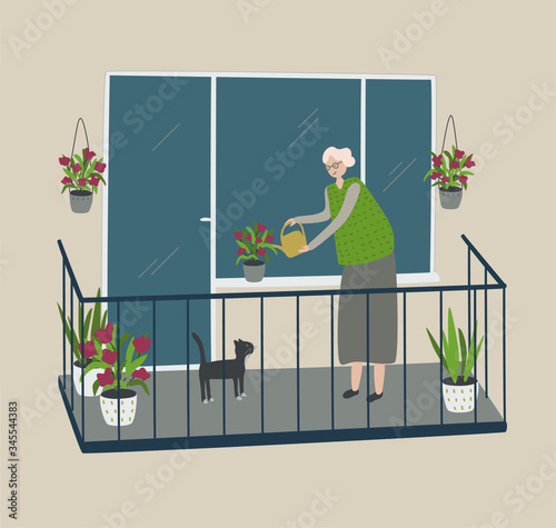 Grandmothe waters flowers with watering can on balcony. Woman and cat near a window. Self isolation  for elder people. Stay home lifestyle. Quarantine pandemic coronavirus. Cartoon vector illustration Fototapete