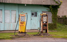 Old Petrol Pumps Rusting At Abandoned Gas Station
