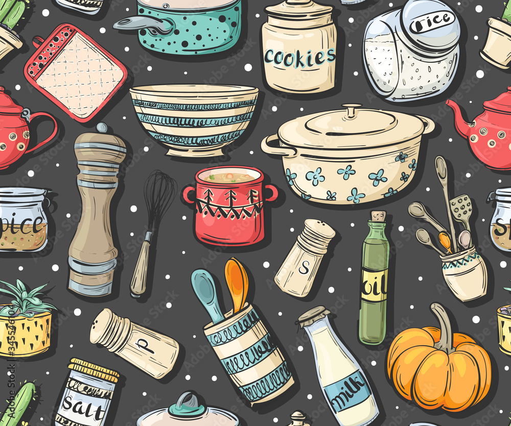 Seamless pattern with cooking utensils, dishes and food