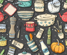 Seamless Pattern With Cooking...