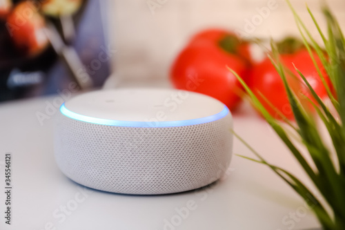 Voice controlled speaker with activated voice recognition with tomatoes and cook book on white and brick background Wallpaper Mural