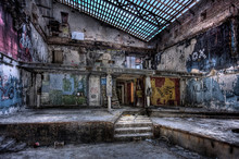 A Huge Hall In A Beautiful Abandoned Building In Russia