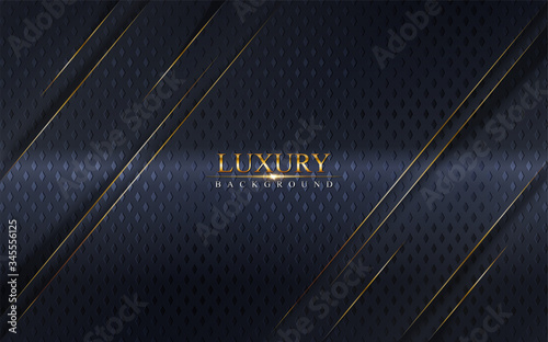 Fototapeta Abstract luxury navy background design with golden lines.