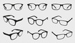 Glasses Icons - Different Angle View - Black Vector Illustration Set - Isolated On Transparent Background