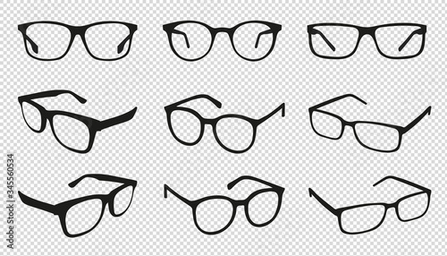 Fotografia Glasses Icons - Different Angle View - Black Vector Illustration Set - Isolated