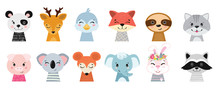 Animal Heads Illustrations Set...