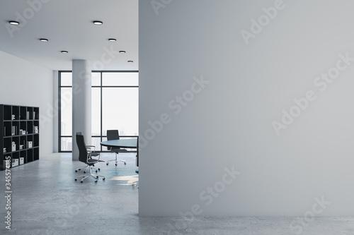 Obraz Luxury meeting room with blank gray wall. - fototapety do salonu